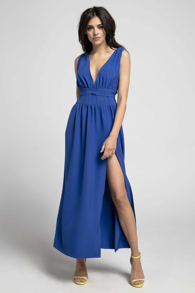 Sukienka Kobaltowa Maxi Sukienka z Dekoltem w Kształcie Litery V