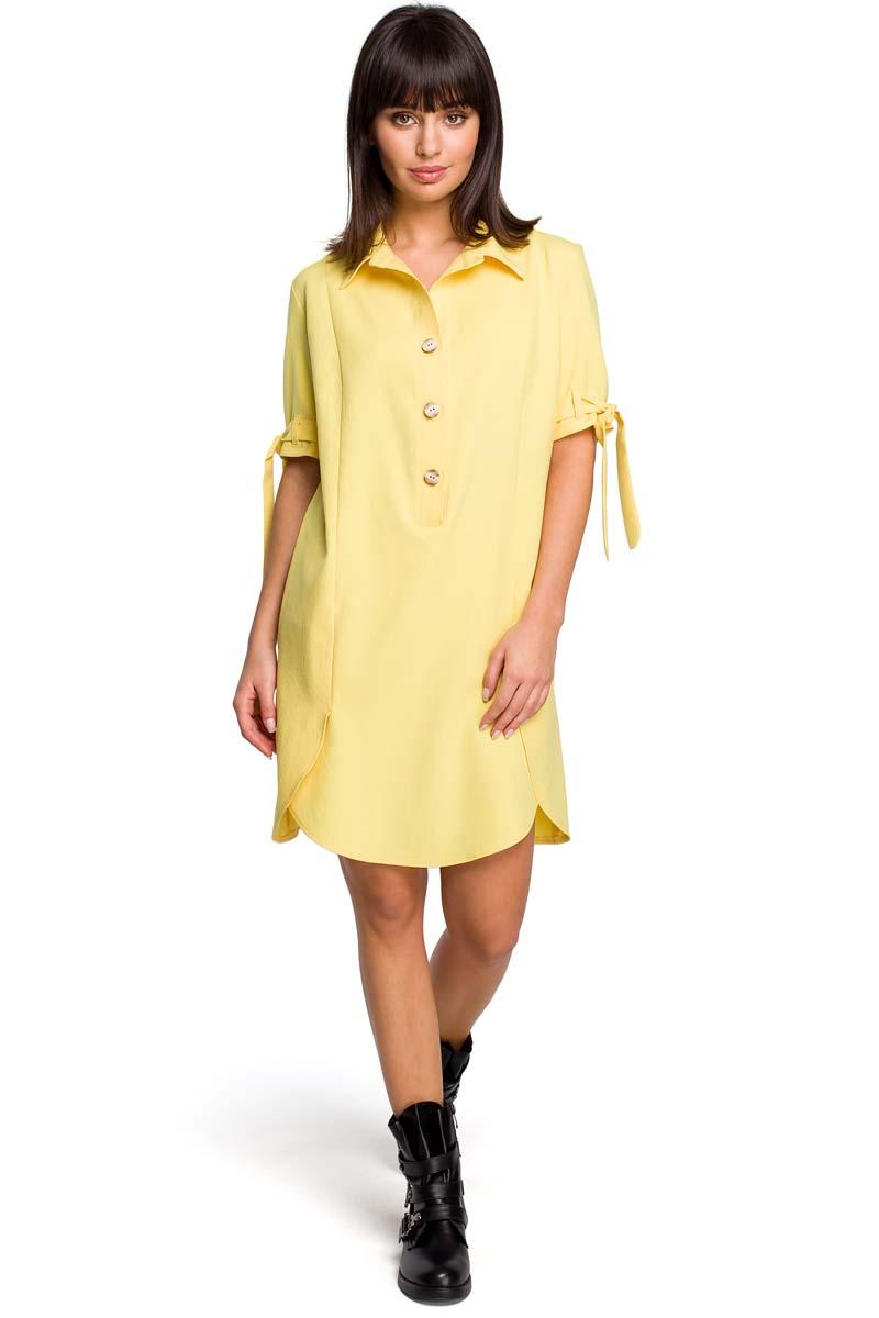 Sukienka Żółta Koszulowa Sukienka Tunika z Wiązaniem na Rękawach