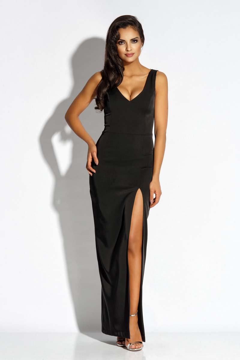 Sukienka Czarna Sukienka Wieczorowa Maxi z Długim Rozcięciem