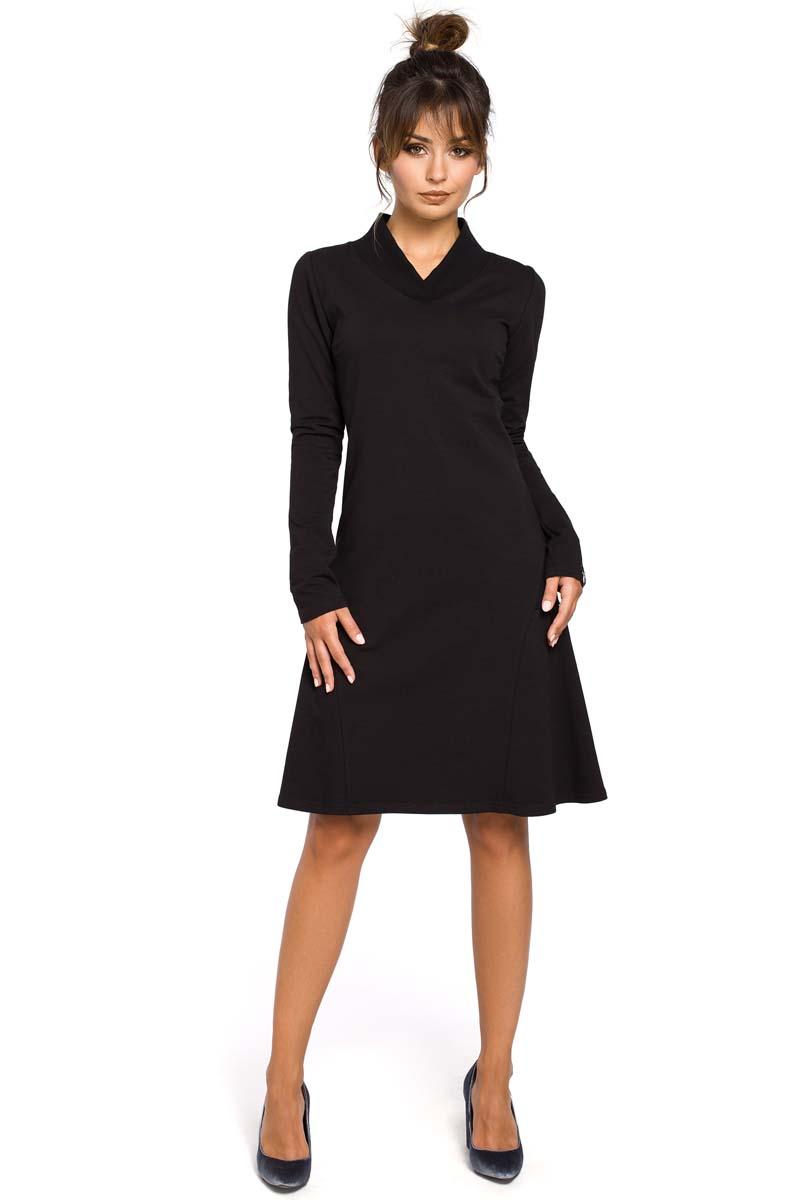 Sukienka Czarna Sukienka z Długim Rękawem