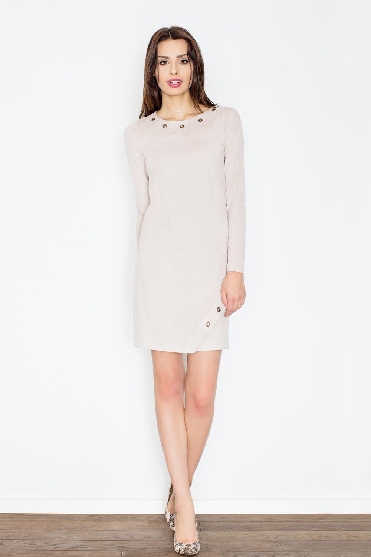 Sukienka Beżowa Casualowa Sukienka z Imitacji Zamszu z Metalowymi Kółkami