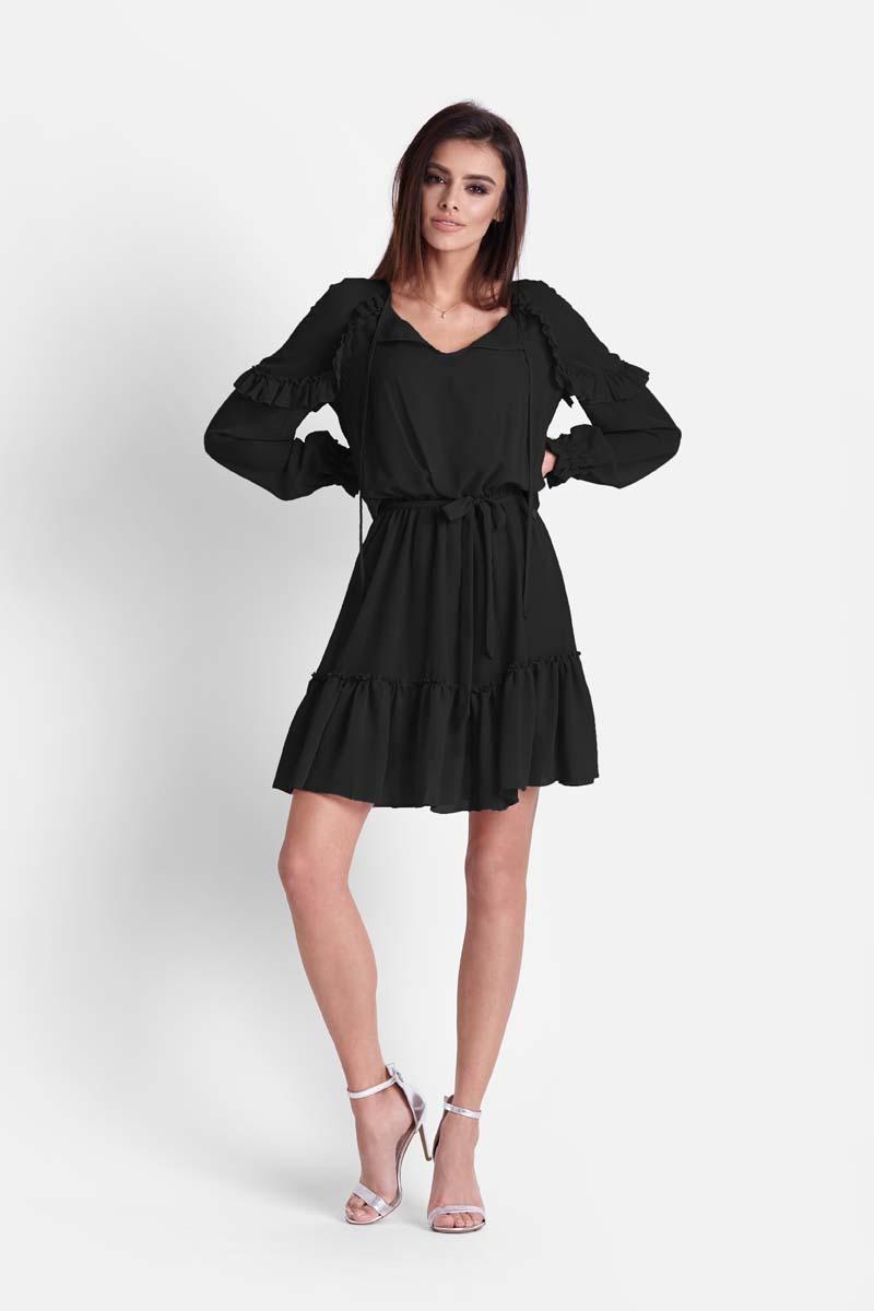 Sukienka Czarna Zwiewna Szyfonowa Sukienka w Stylu Boho
