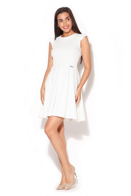 Sukienka Ecru Rozkloszowana Sukienka z Zakładkami
