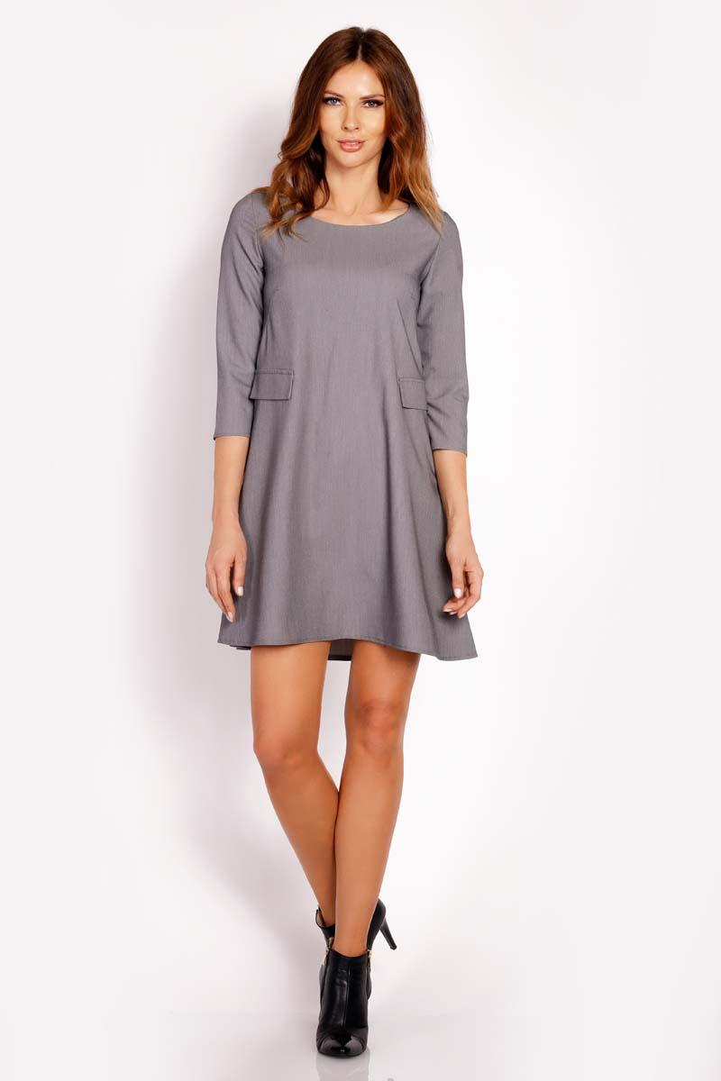Sukienka Szara Sukienka Mini z Patkami Imitującymi Kieszenie