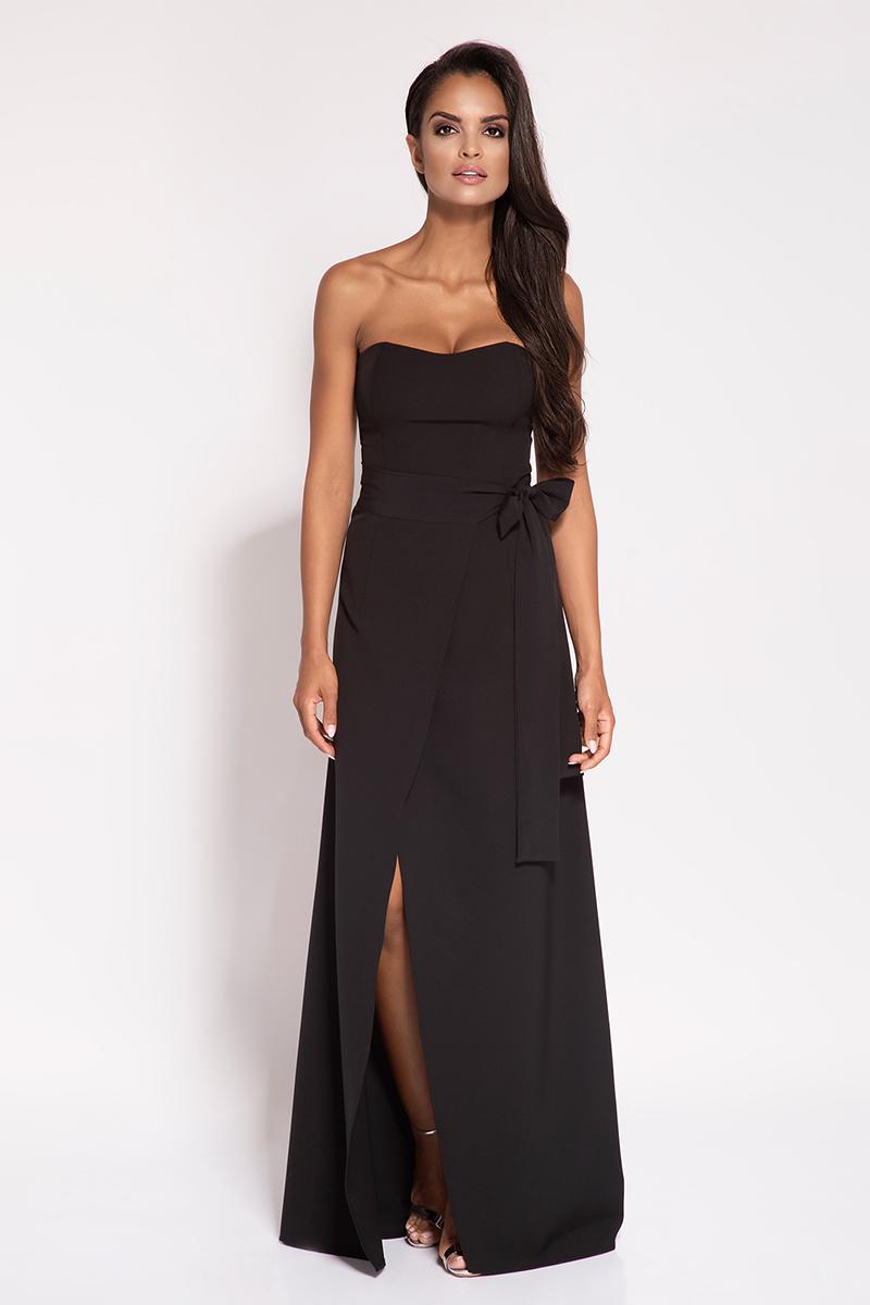 Sukienka Czarna Wieczorowa Maxi Sukienka z Odkrytymi Ramionami