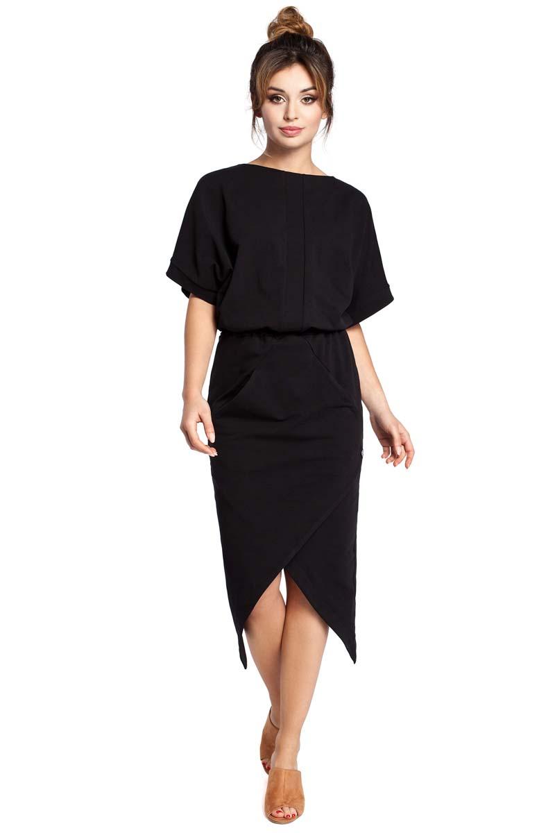 Sukienka Czarna Sukienka z Kopertowo Zakładanym Dołem