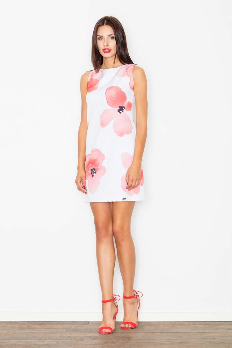 Sukienka Sukienka we Wzór Kwiaty Odcienie Czerwieni