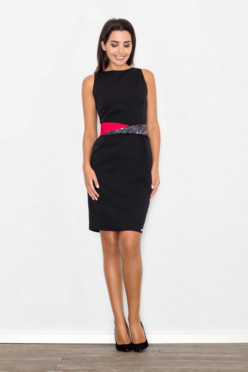 Sukienka Czarna Sukienka Wizytowa Bodycon z Kontrastową Szarfą