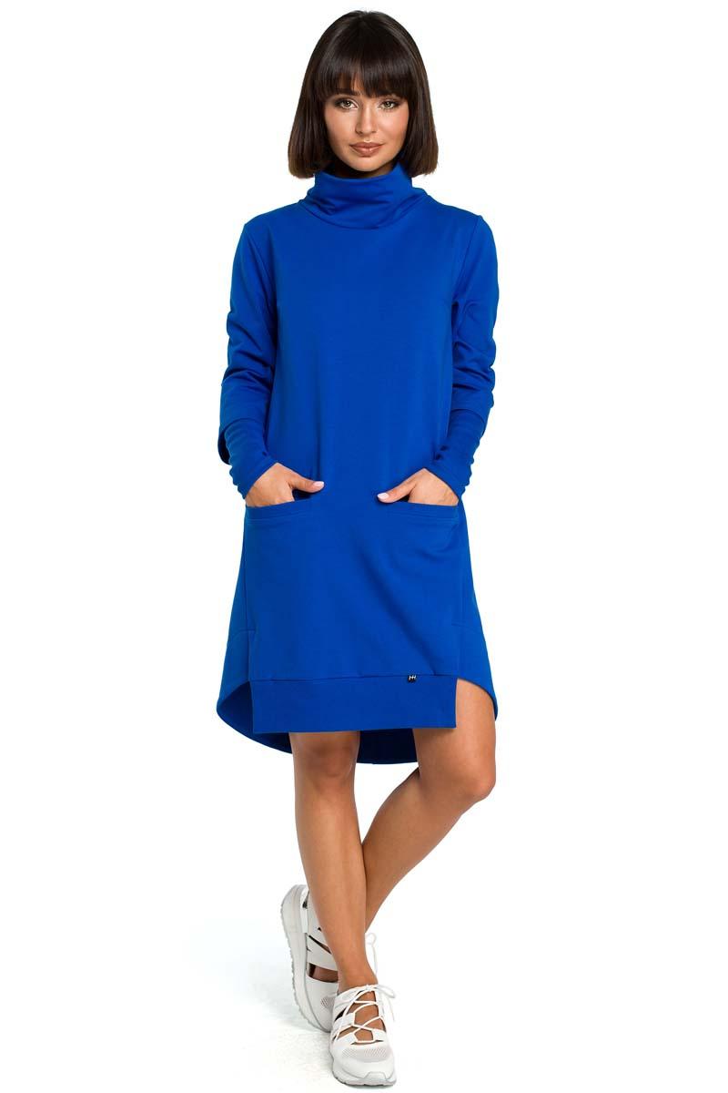 Sukienka Chabrowa Dresowa Asymetryczna Sukienka z Golfem