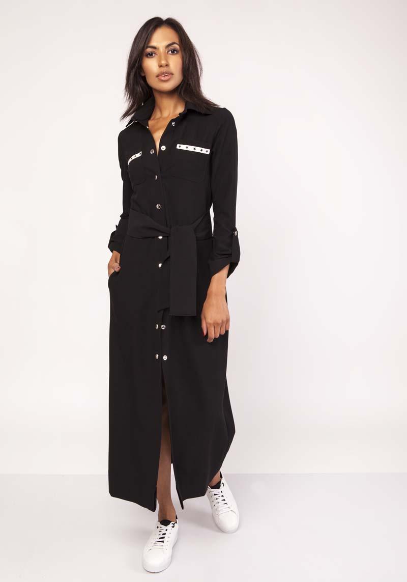Sukienka Czarna Długa Koszulowa Sukienka z Militarnym Akcentem