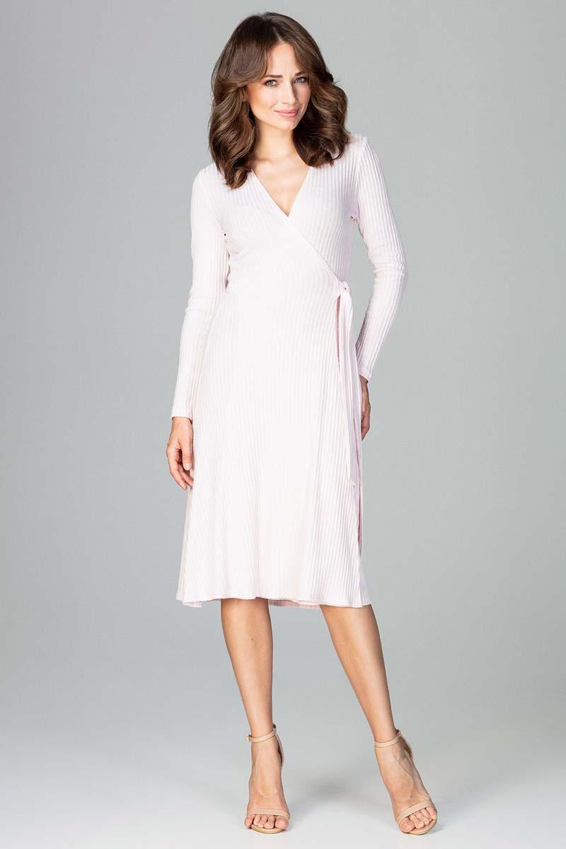 Sukienka Różowa Sukienka Kopertowa Wiązana na Boku