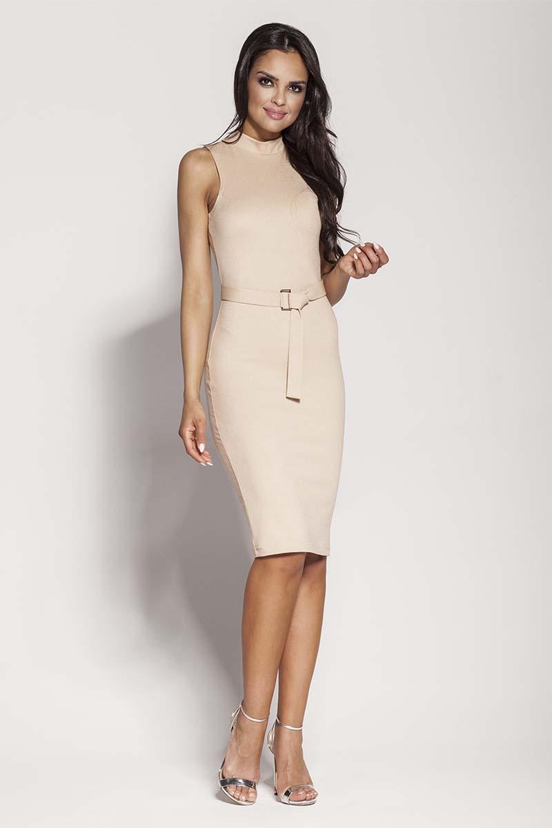 Sukienka Beżowa Elegancka Ołówkowa Sukienka z Połyskiem