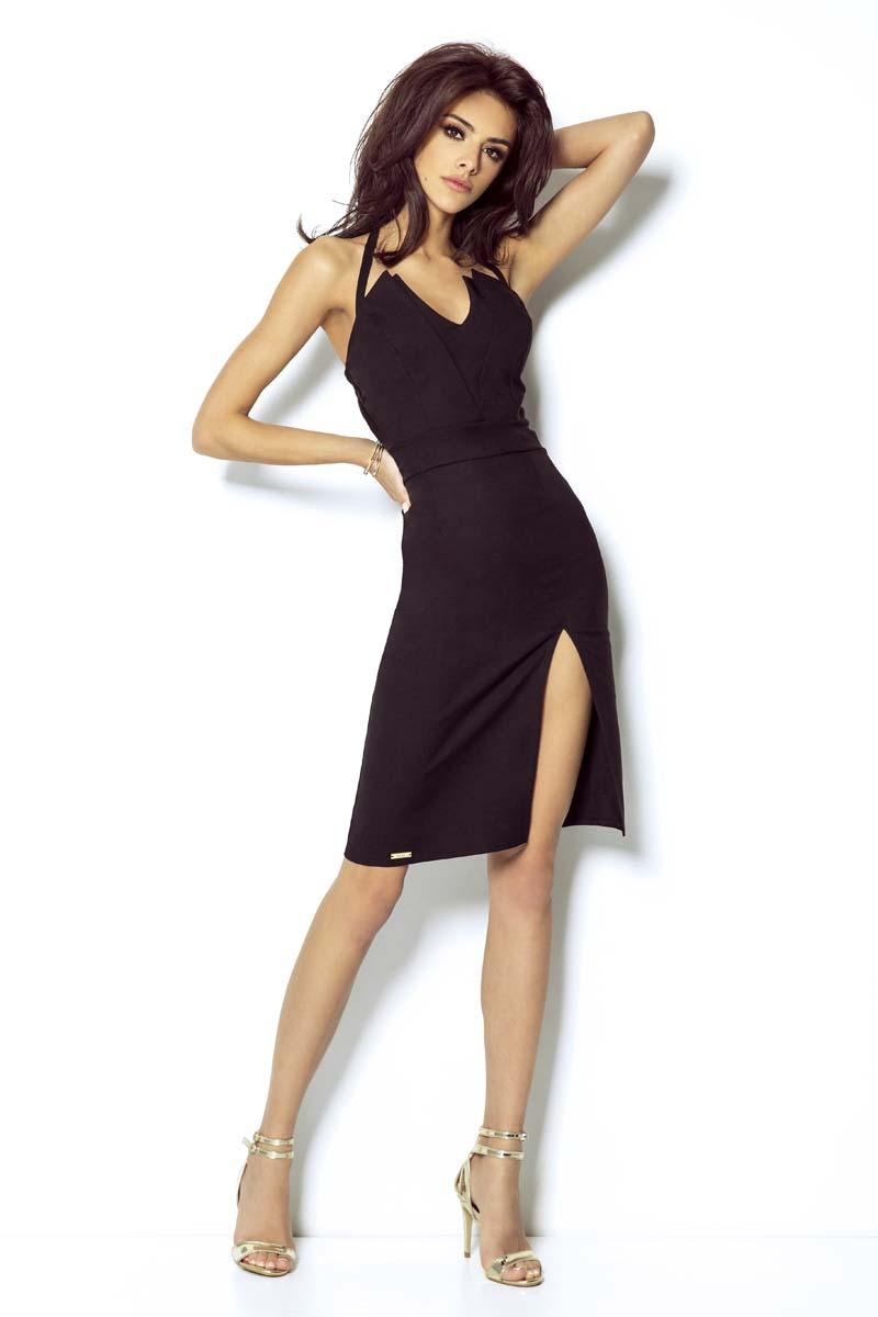 Sukienka Czarna Mini Sukienka Wiązana na Karku