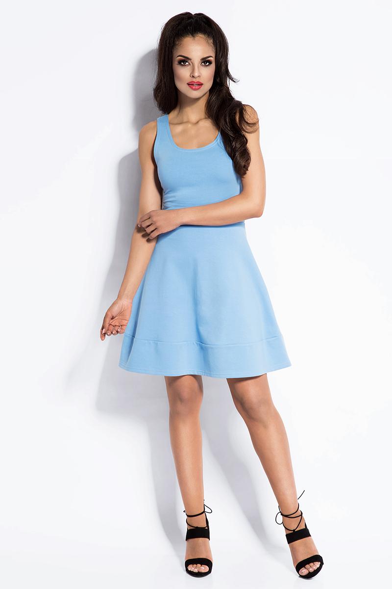 Sukienka Błękitna Sukienka Rozkloszowana Mini z Odkrytymi Plecami