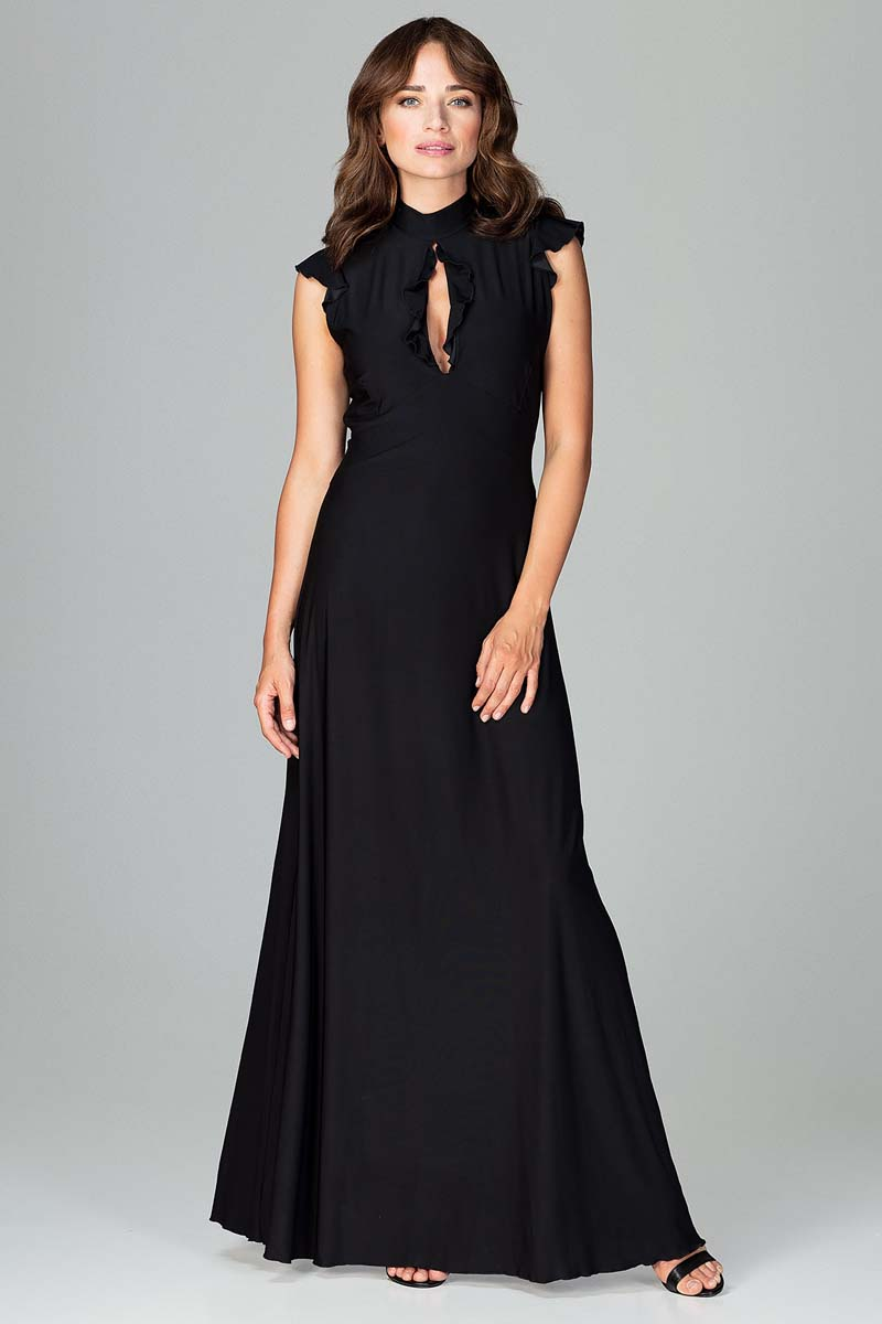 Sukienka Czarna Subtelna Długa Sukienka z Falbankami