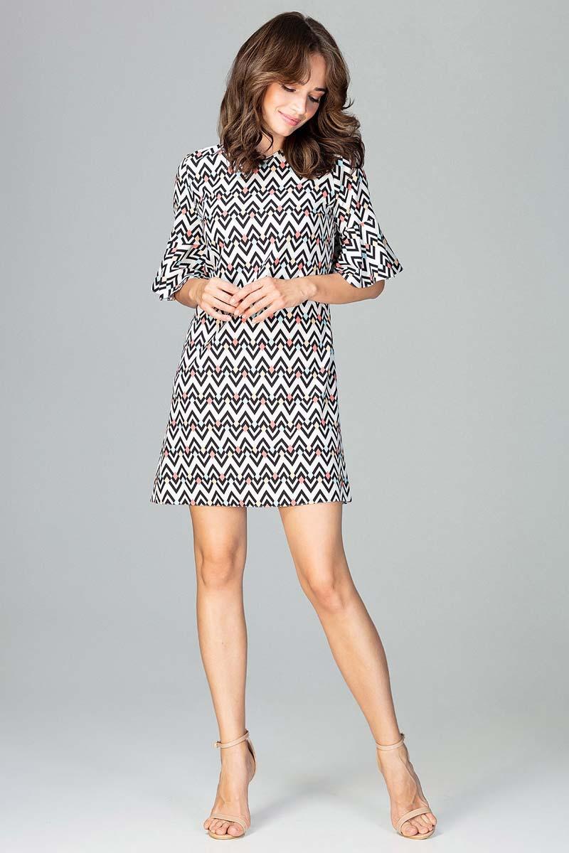 Sukienka Krótka Sukienka o Linii A w Geometryczny Wzór