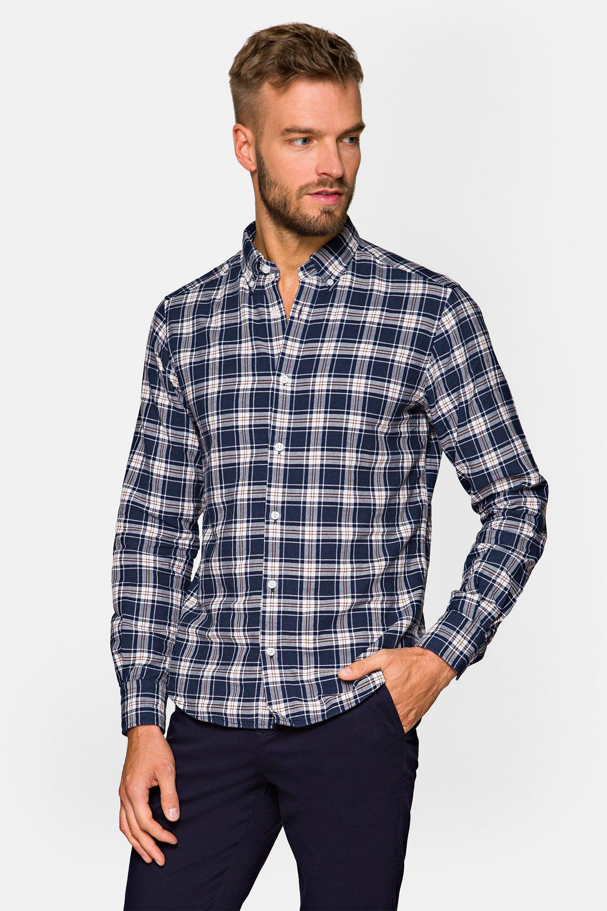 Koszula Granatowa w Kratę Eunice rozmiar 2XL; L; M; S; XL