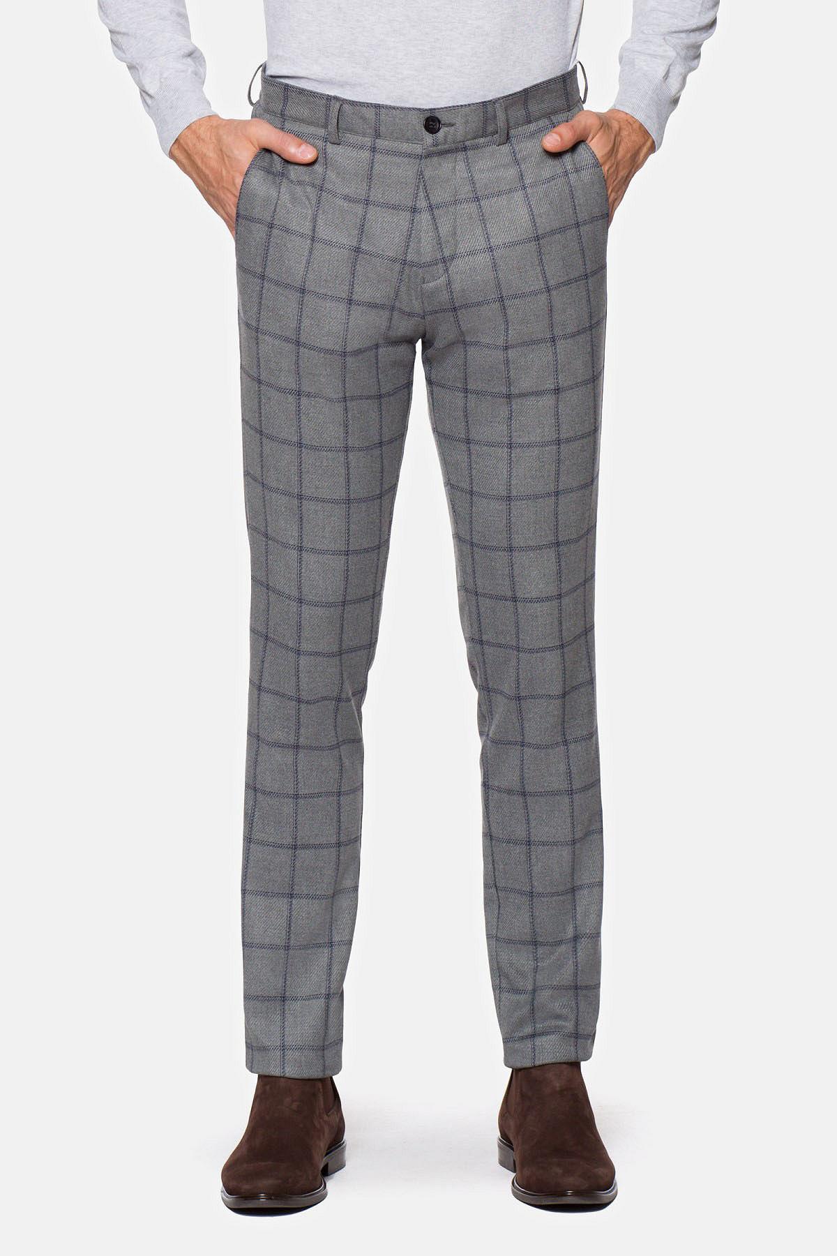 Spodnie Szare w Granatową Kratę Smithson rozmiar W36/L32; W38/L32