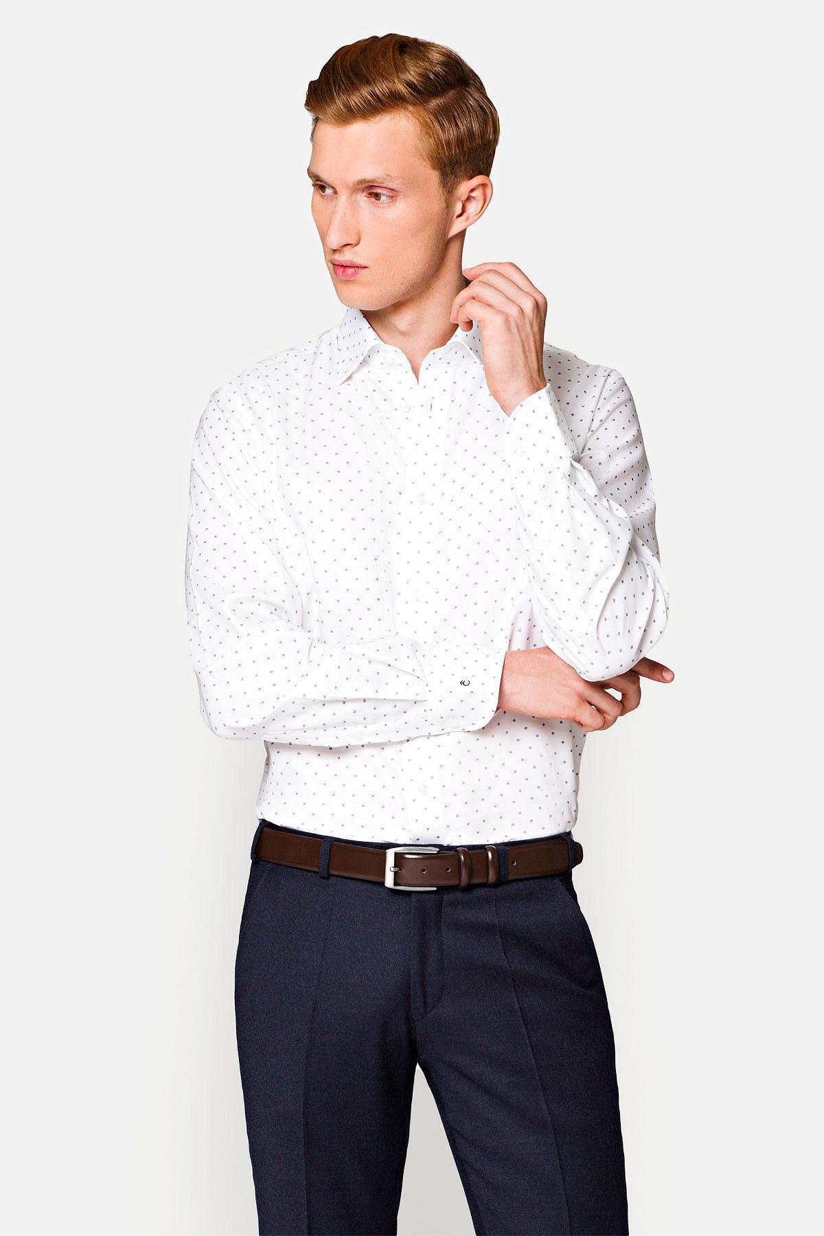 Koszula Biała w Granatowy Wzór Tina rozmiar (176-182)/39; (176-182)/41; (176-182)/42; (176-182)/44; (188-194)/40; (188-194)/41; (188-194)/46
