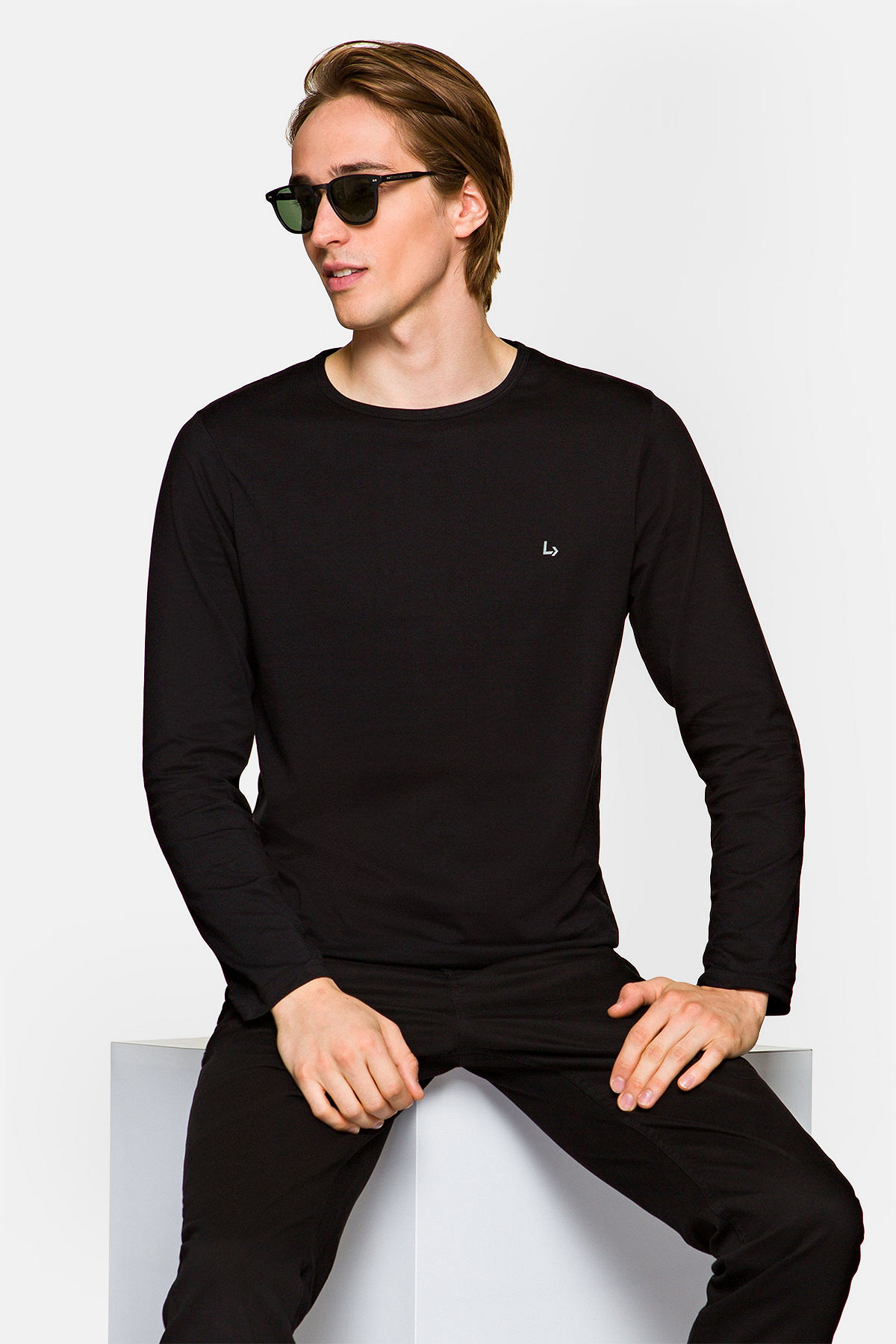 Koszulka z Długim Rękawem Czarna Runcorn rozmiar 2XL; 3XL; L; M; XL