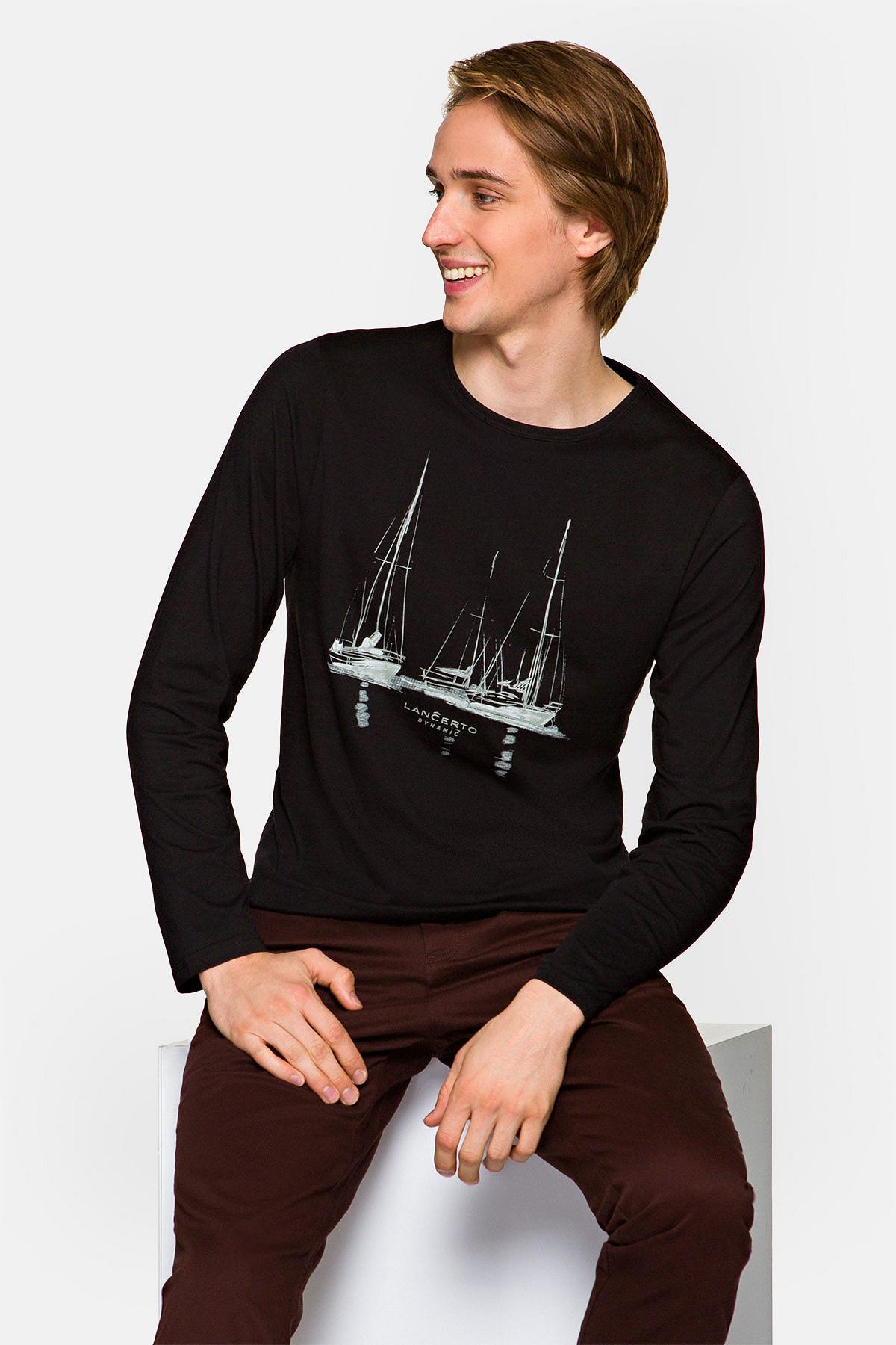 Koszulka z Długim Rękawem Czarna Johnston rozmiar 2XL; 3XL; L; M; XL