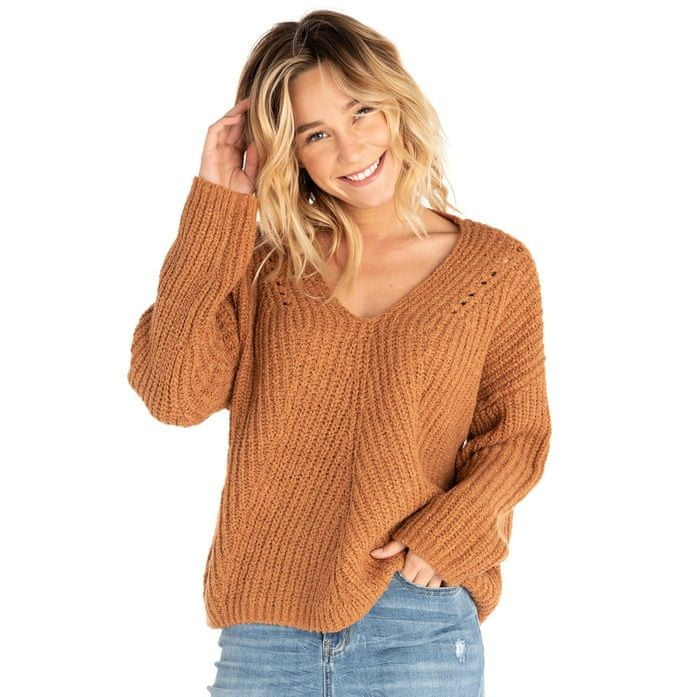Rip Curl sweter damski Woven V Neck Sweater S brązowy