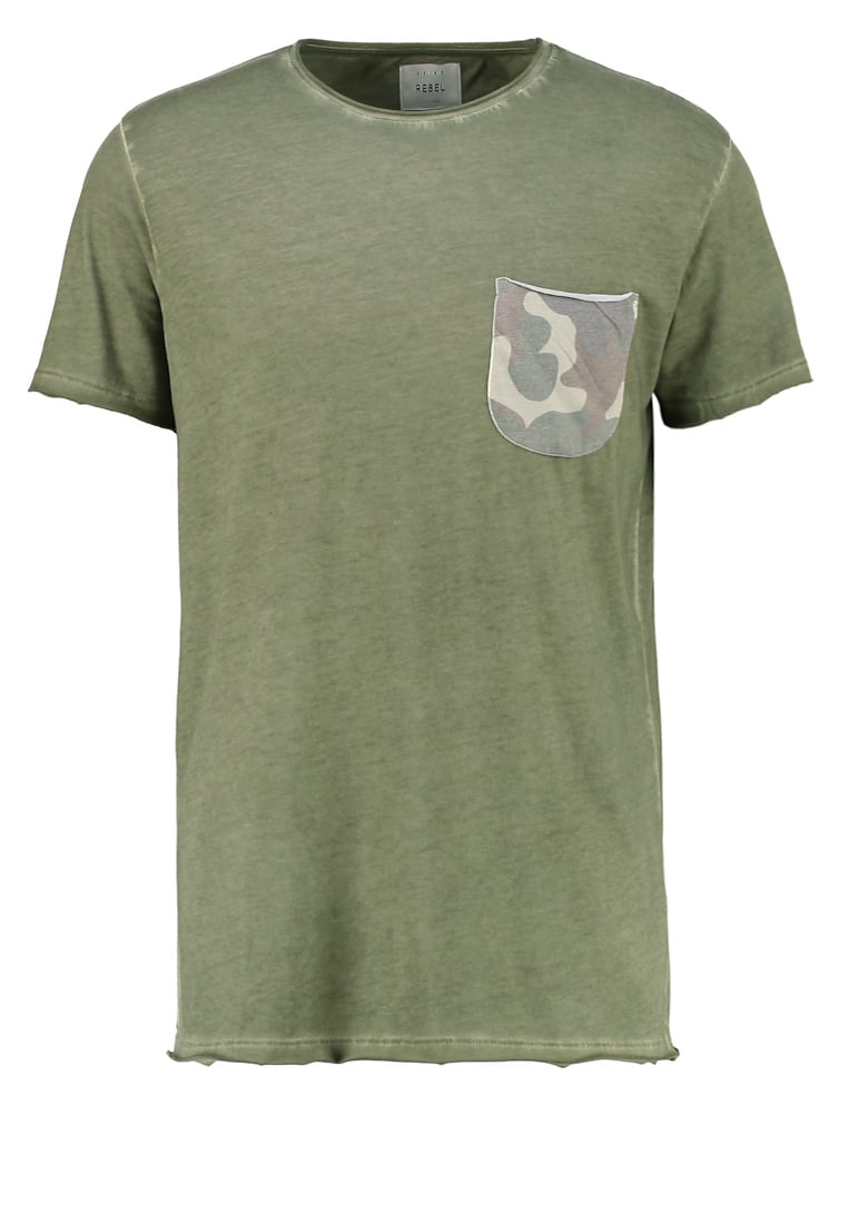 Redefined Rebel BURNLEY Tshirt z nadrukiem olive - TSN709