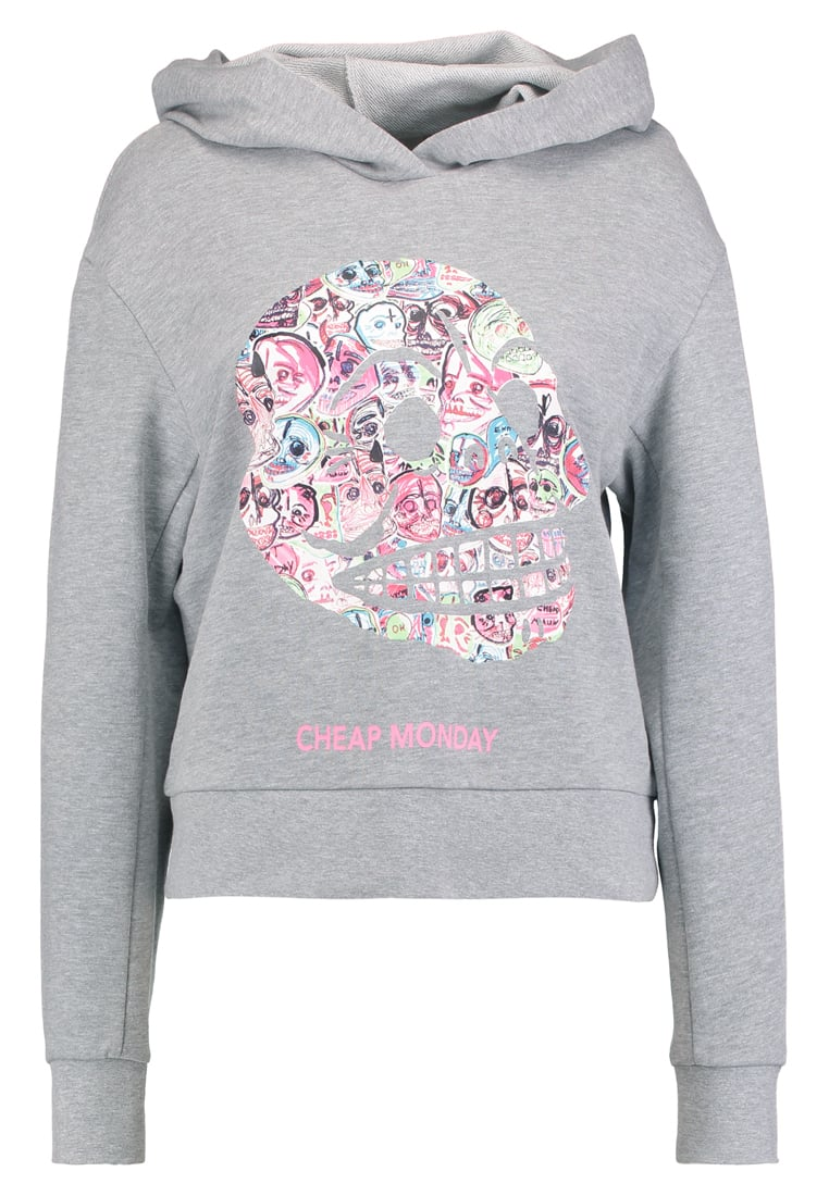 Cheap Monday ATTRACT CROWDED SKULL Bluza z kapturem grey melange - 0529678
