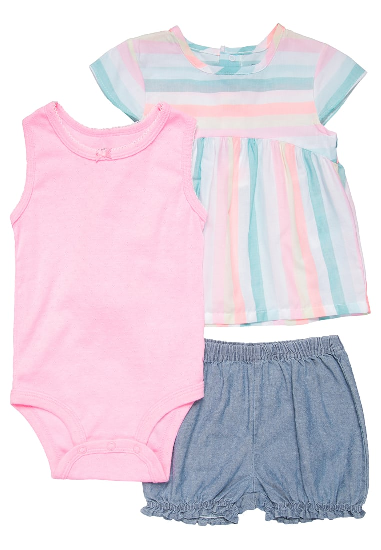 Carter's COLOR BLOCK STRIPE SET Szorty jeansowe denim - 121H120