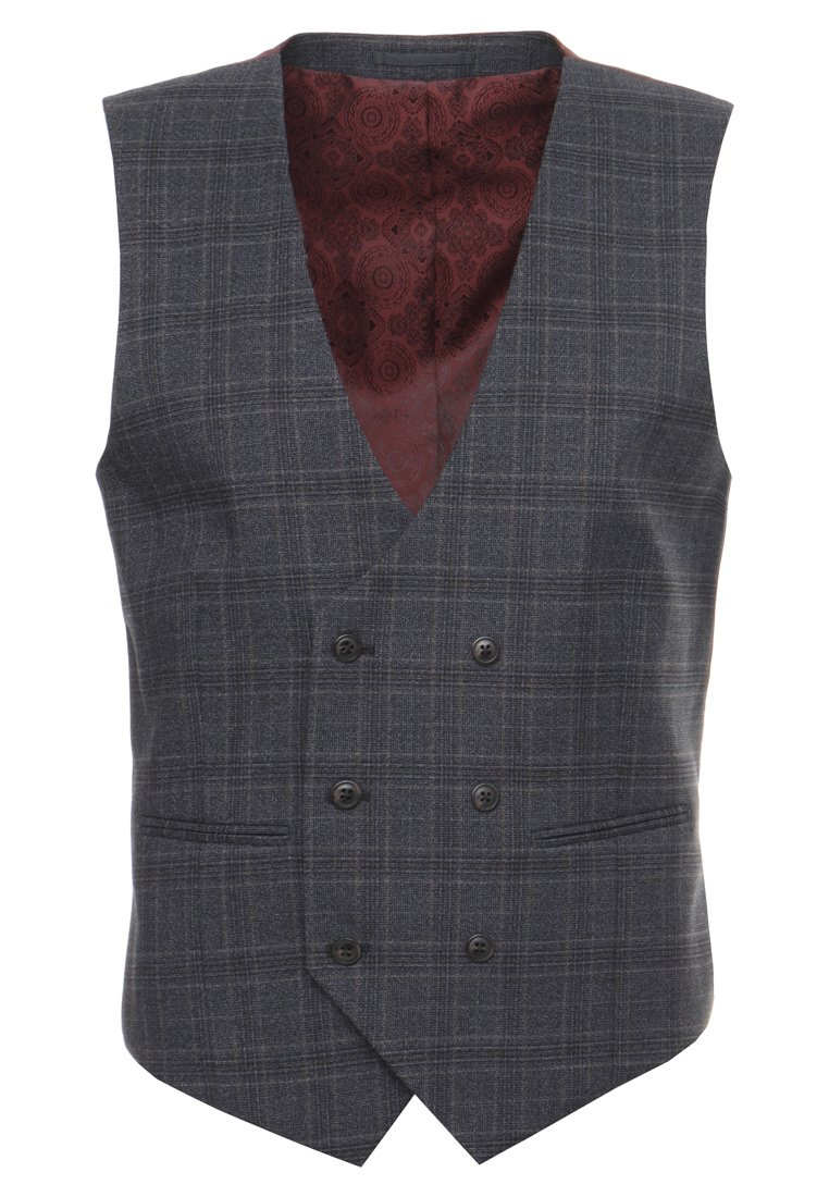Burton Menswear London CHECK Kamizelka garniturowa grey - 02S12LGRY