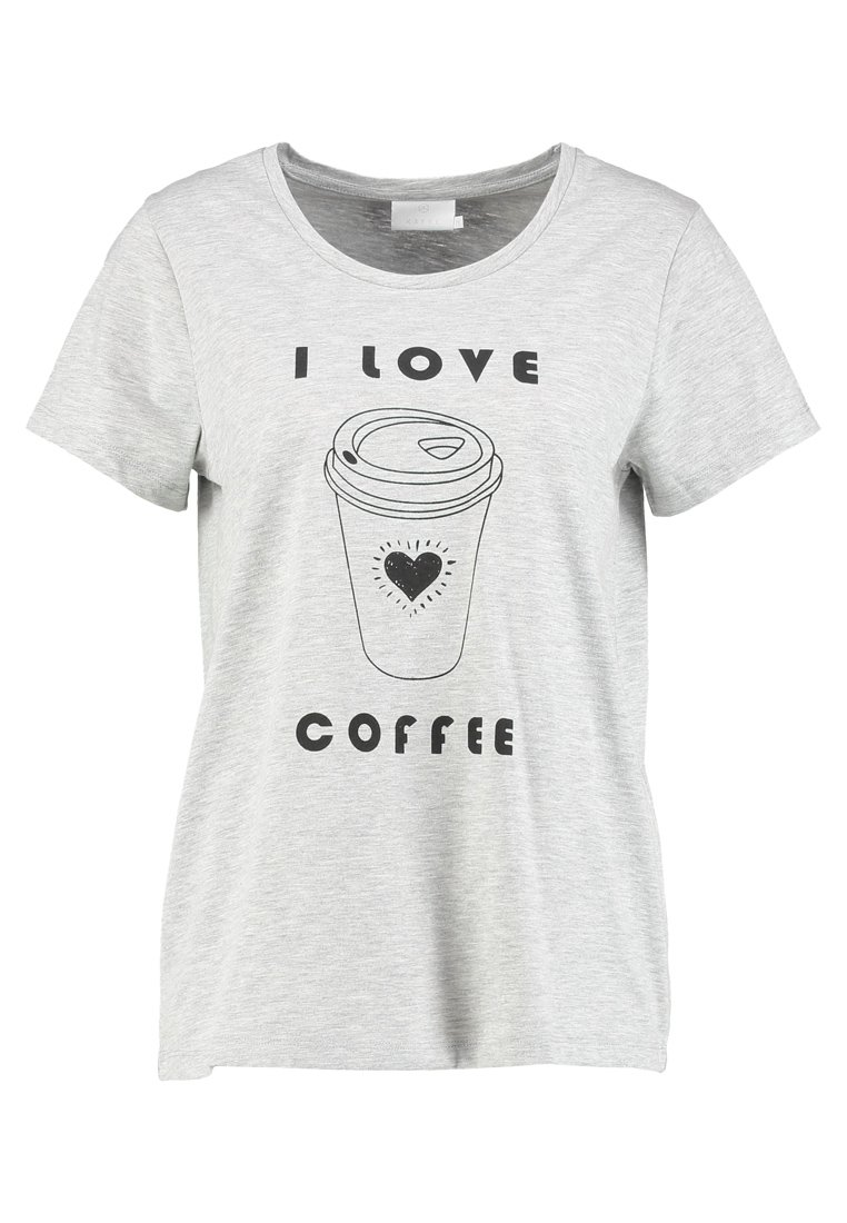 Kaffe COFFEE  Tshirt z nadrukiem light grey melange
