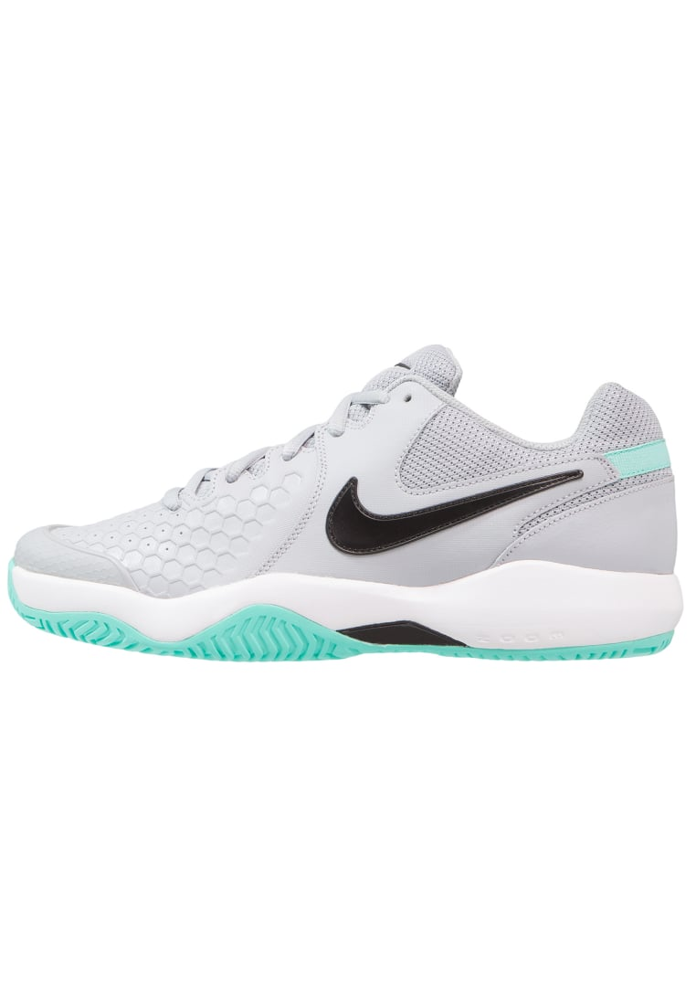Nike Performance AIR ZOOM RESISTANCE Buty multicourt wolf grey/black/white/aurora green - 918194
