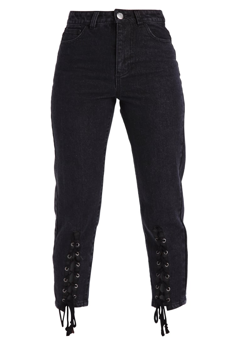 Daisy Street Petite LACE UP Jeansy Slim fit black - SRB88CORE