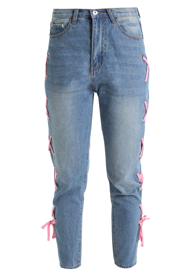 Liquor N Poker LAX MOM WITH EYELET AND RIBBON LACE UP Jeansy Relaxed fit light blue denim - C831