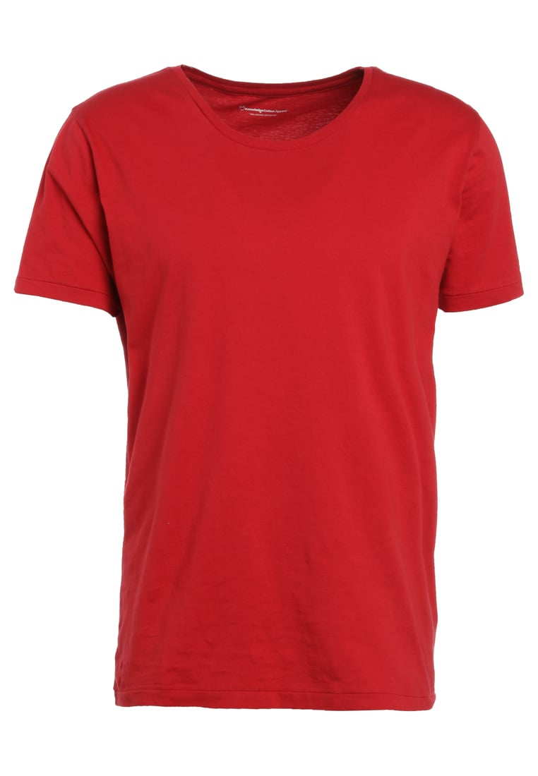 Knowledge Cotton Apparel BASIC FIT ONECK Tshirt basic deep red - 10110