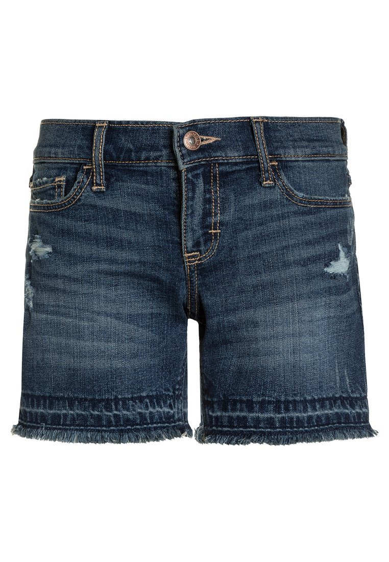 Abercrombie & Fitch CORE PLAY LENGTH Szorty jeansowe dark destroy - KI249-8007