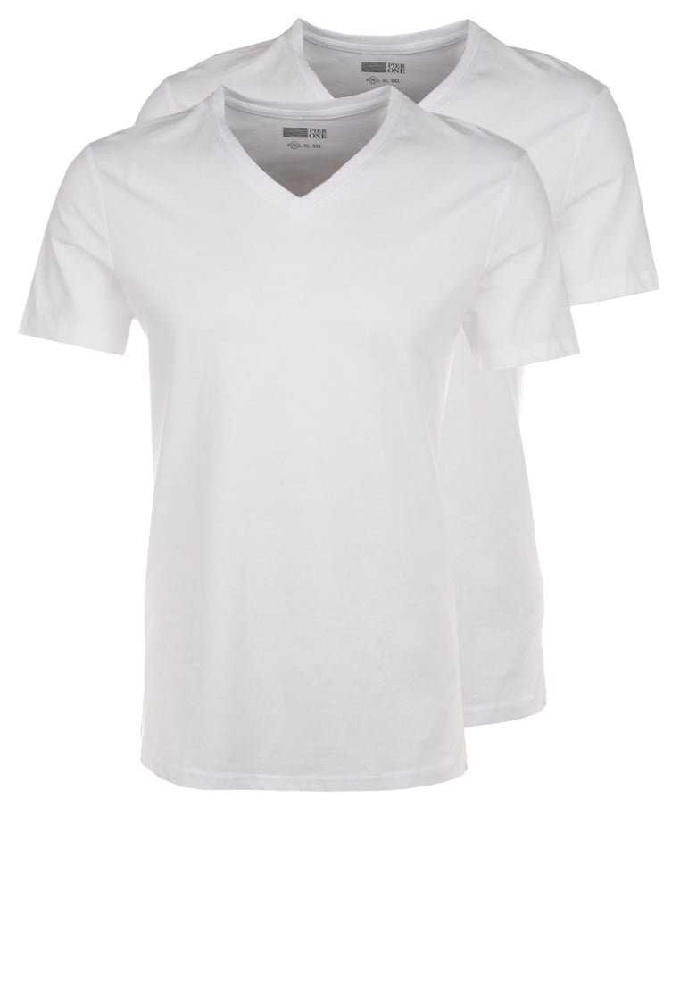 Pier One 2 PACK Tshirt basic white - PM-BAS0-0113