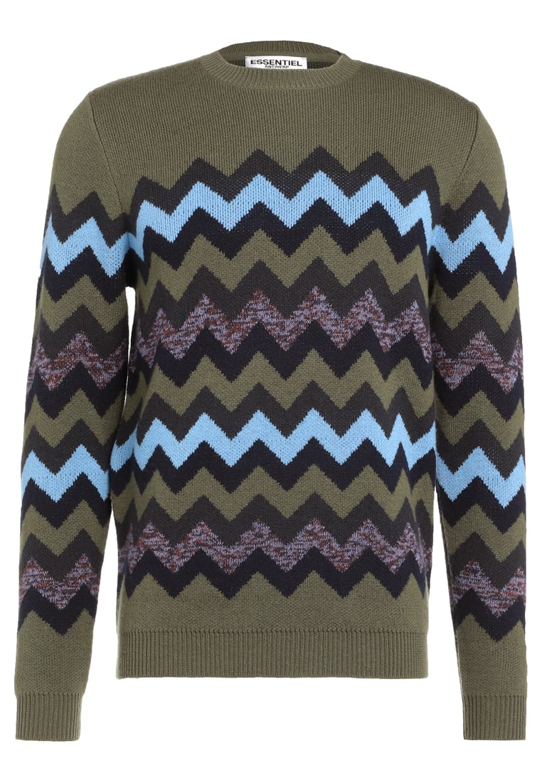 Essentiel Antwerp INLCUSIVE Sweter army green - M-Inlcusive Knitted Jumper