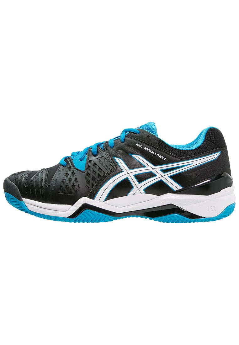 ASICS GELRESOLUTION 6 CLAY Buty do tenisa Outdoor black/blue jewel/white - E503Y