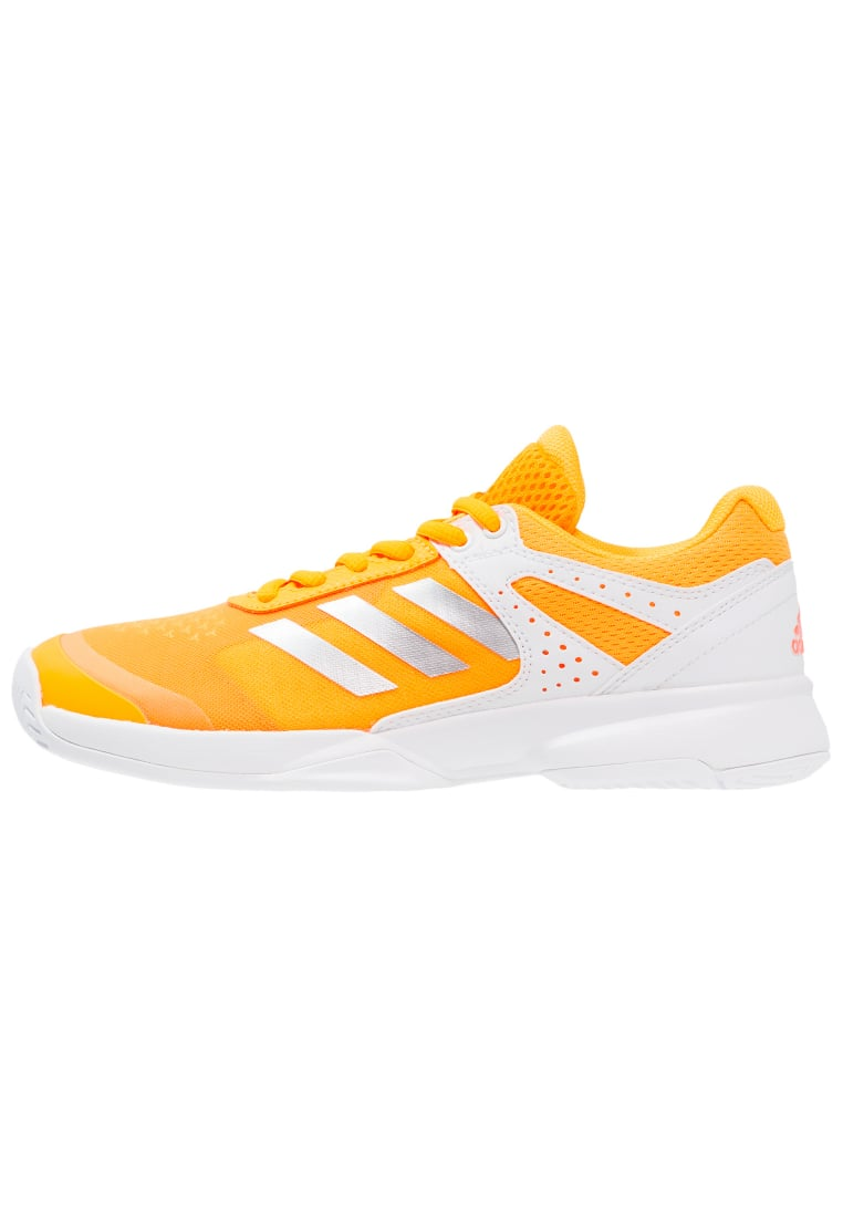 adidas Performance ADIZERO COURT Buty do tenisa Indoor white/silver metallic/glow orange - KDA86
