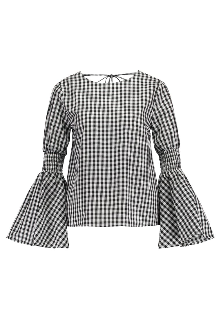 English Factory GINGHAM BELL SLEEVE SMOCKED Bluzka black - 70094T7SF