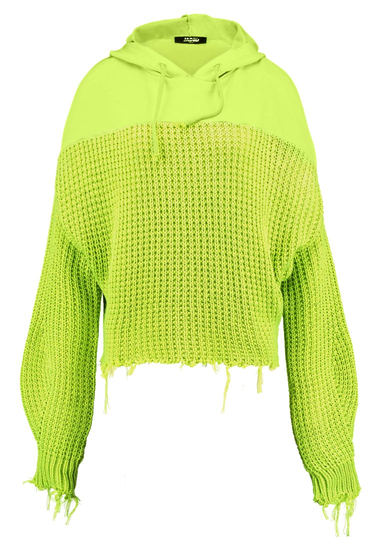 Jaded London UNRAVELLING MIX Bluza z kapturem lime