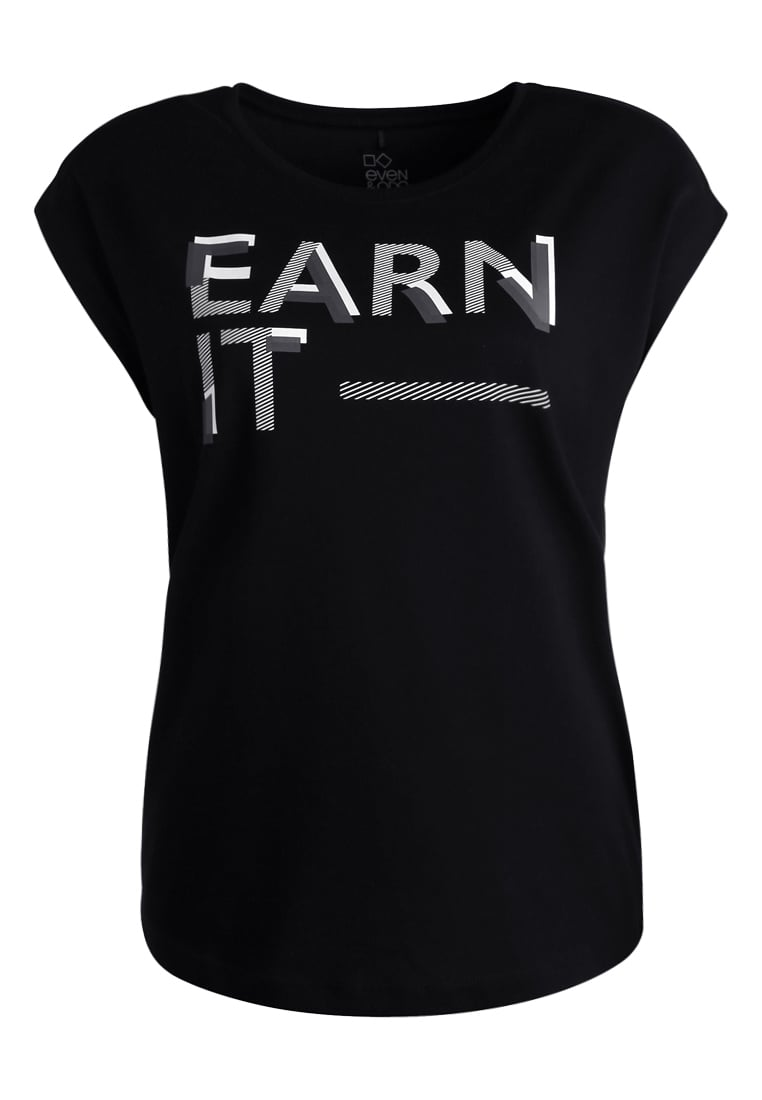 Even&Odd active BASIC PRINTED TRAINING Tshirt z nadrukiem black/offwhite - EVA-0717-0110