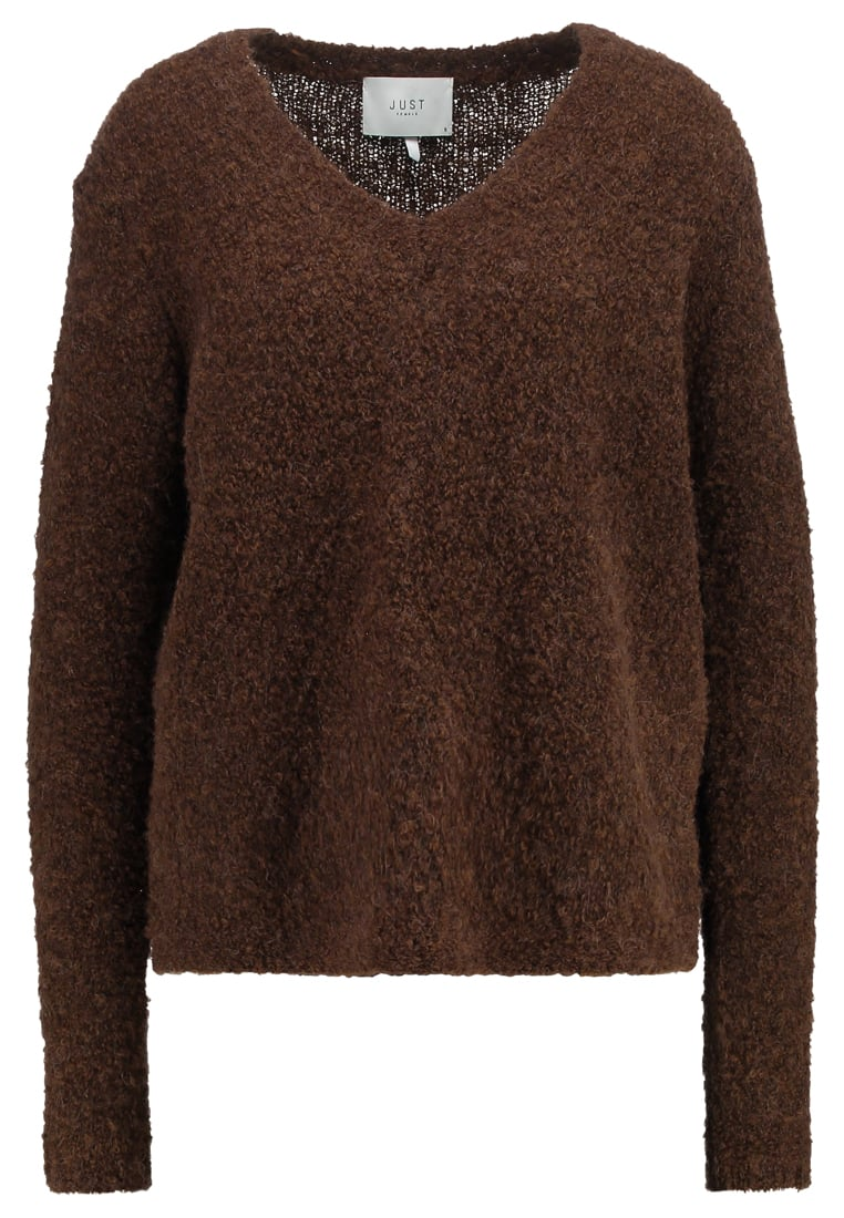 JUST FEMALE ALPHA Sweter dark brown melange - Alpha Knit Blouse