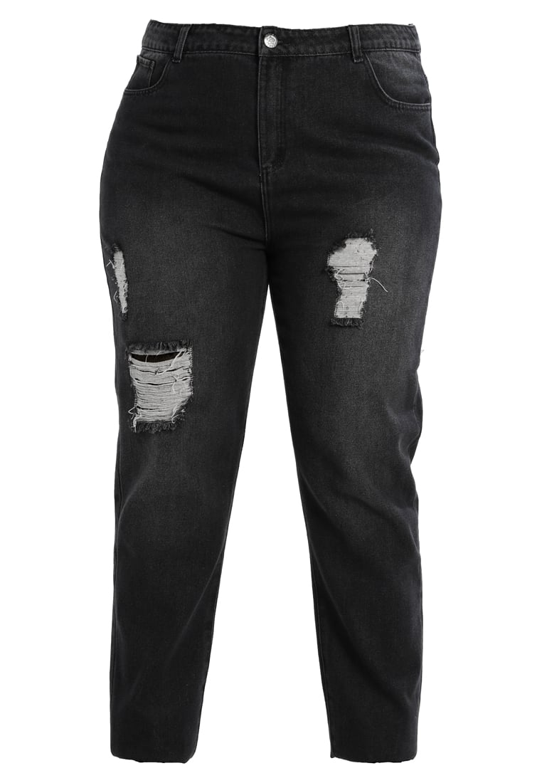 Daisy Street Plus DISTRESSED MOM JEANS Jeansy Relaxed Fit black - DSB112PLUS