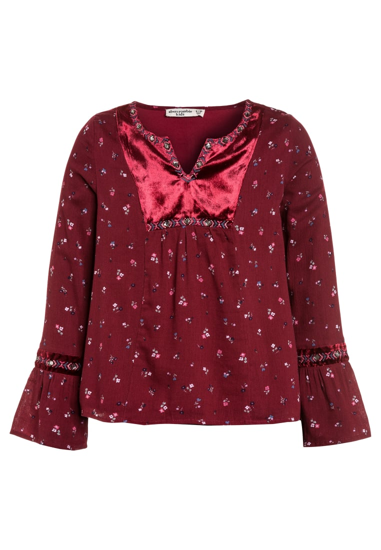 Abercrombie & Fitch EMBROIDERED SHINE Bluzka burg grounded floral - KI236-7301-444142