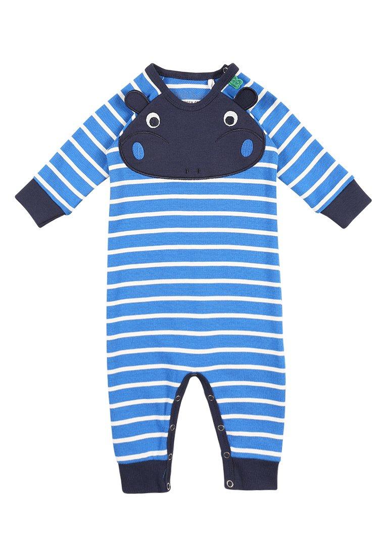 Fred's World by GREEN COTTON ZGREEN BABY HIPPO STRIPE BODYSUIT Śpioszki royal blue/cream - 1584029900