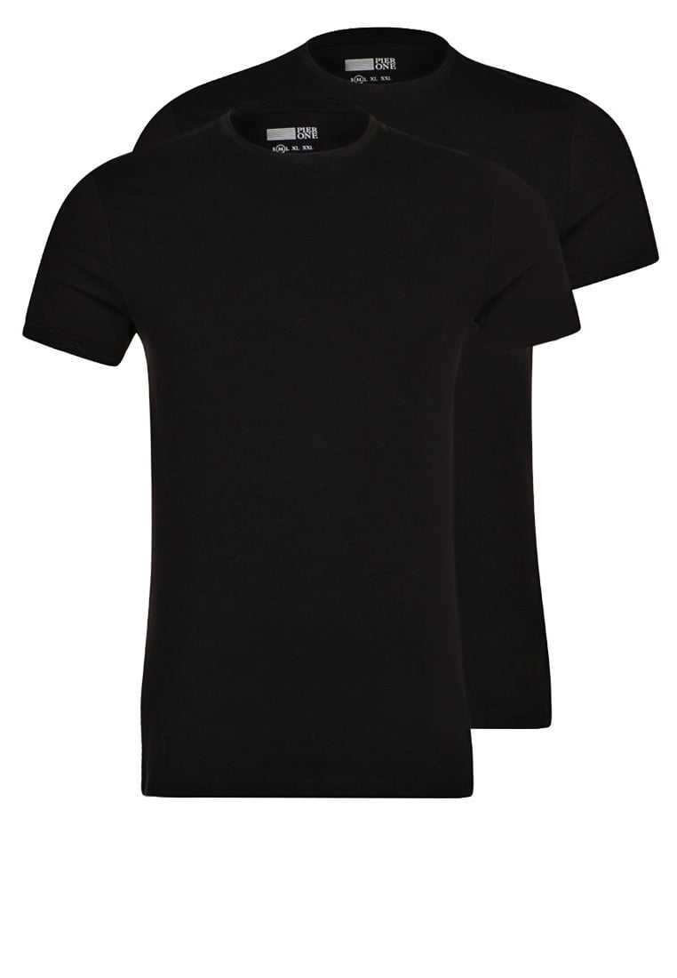 Pier One 2 PACK Tshirt basic black - PM-BAS0-0127