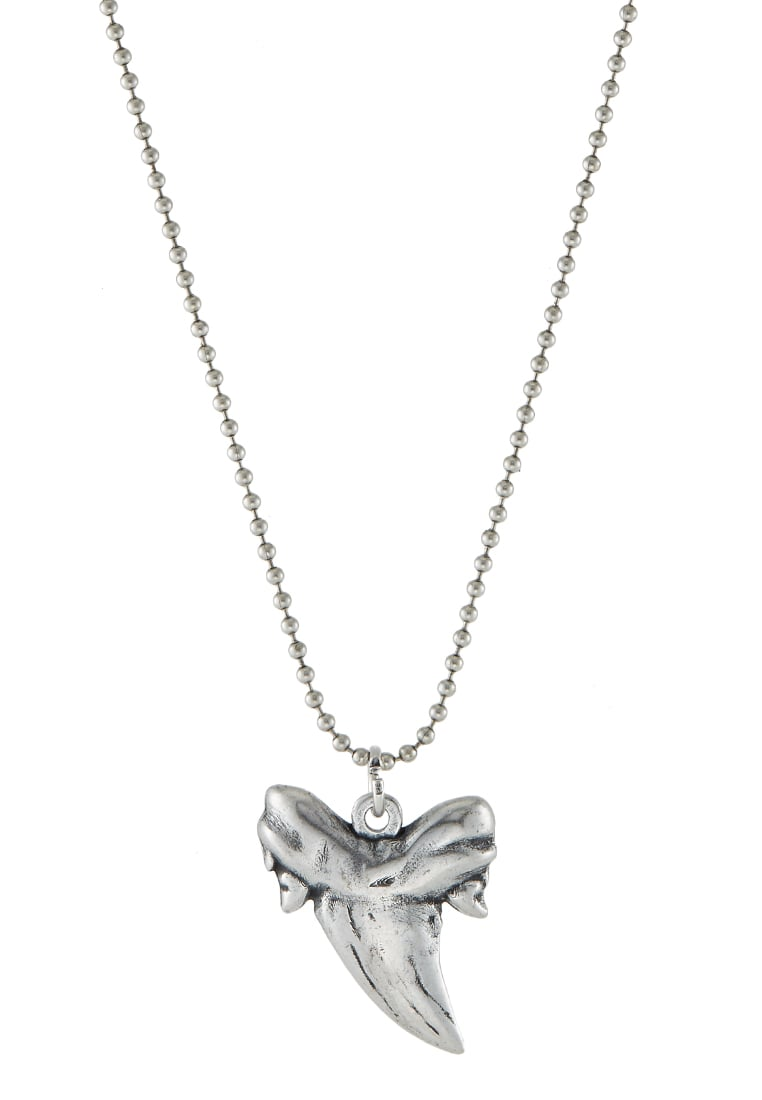 Double U Frenk Naszyjnik silvercoloured - SHARK TOOTH
