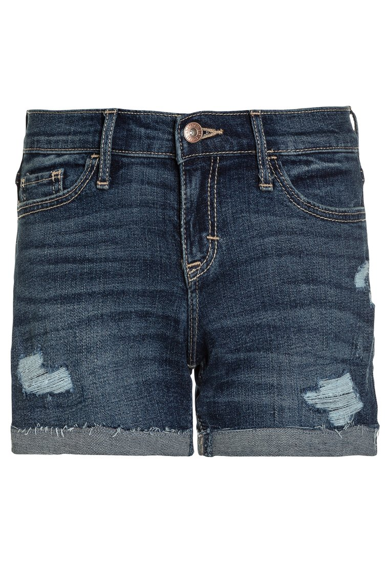 Abercrombie & Fitch CORE MIDI Szorty jeansowe dark destroy - KI249-8000